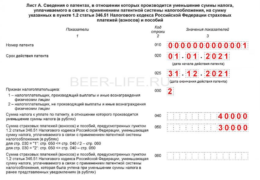 форма КНД1112021 лист А